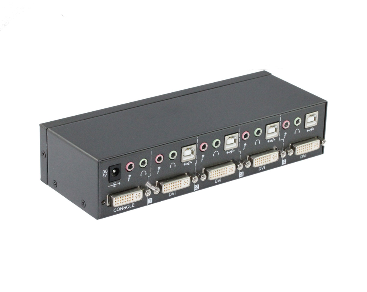 4 Port DVI USB KVM Switch Supports Audio