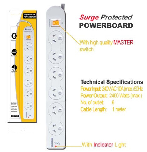 6 Way Surge Protected Power Board