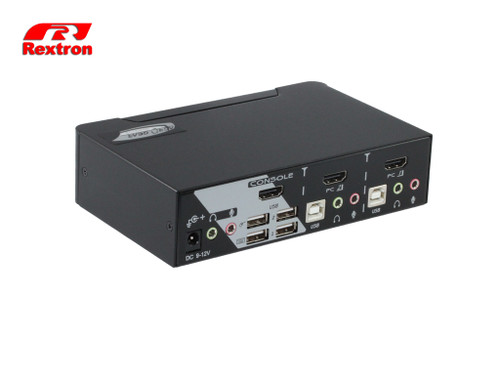 Rextron 2-Port HDMI KVM Switch w/ Audio & Hotkey Control