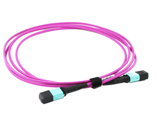 1M 12 Core MPO Female to Female OM4 Fibre Trunk Cable, Type B