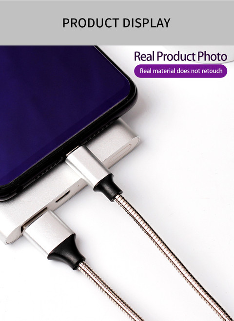1M Lightning Cable Heavy Duty with Metal Connector and Steel Braided Cord