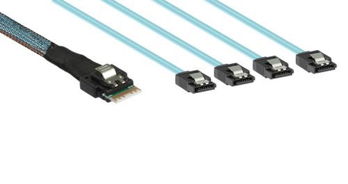 50CM 24G Slim Line SAS 4.0 SFF-8654 4i 38pin to 4 x SATA Cable 100 Ohm
