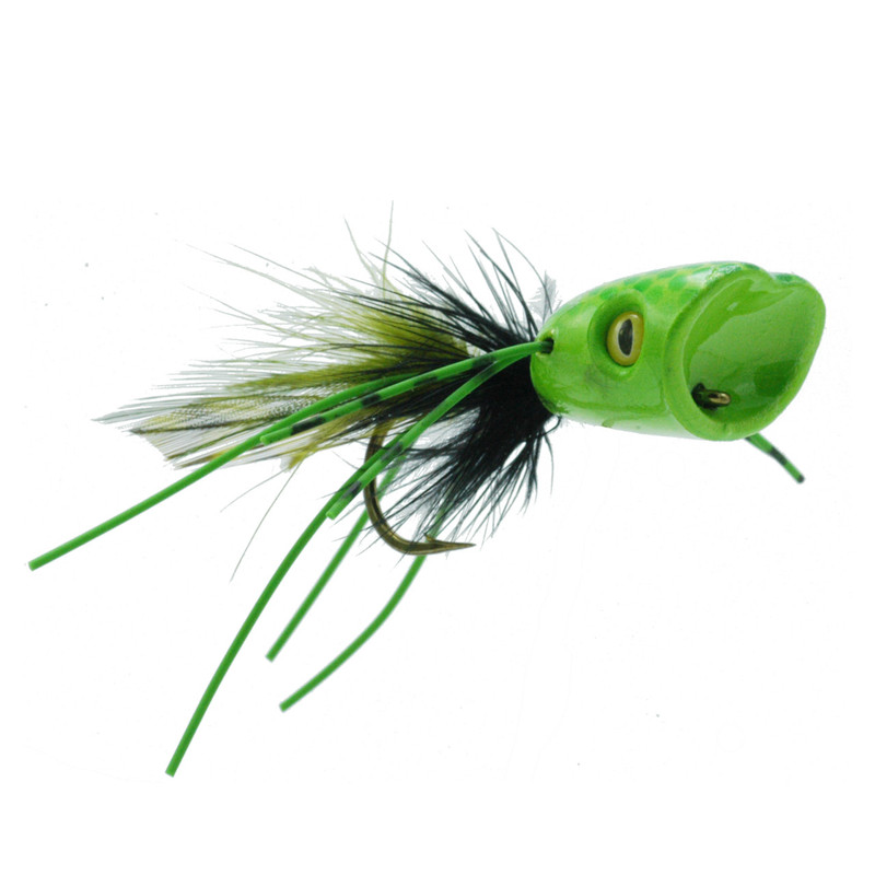 Double Barrel Popper Green Chartreuse Front and Side View