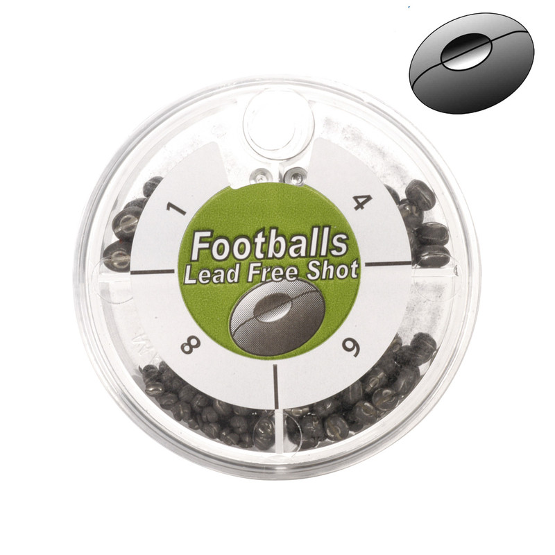 Anchor Non-Toxic Double-Cut Football Split Shot Dispenser Lake and Stream with Illustration of Football Shaped Shot