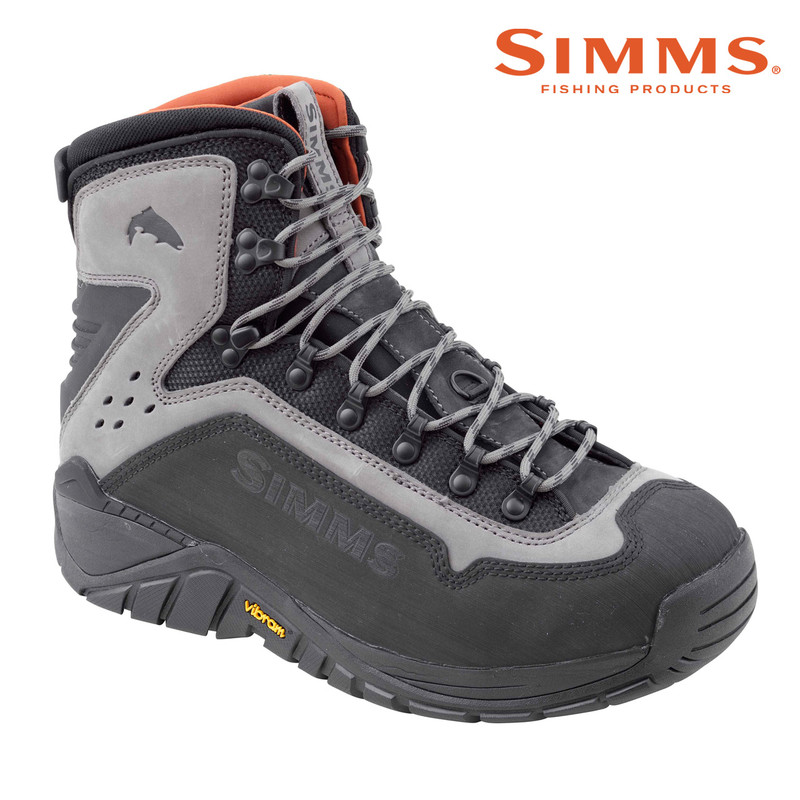 Simms G3 Guide Wading Boot with Vibram Soles Front and Side View