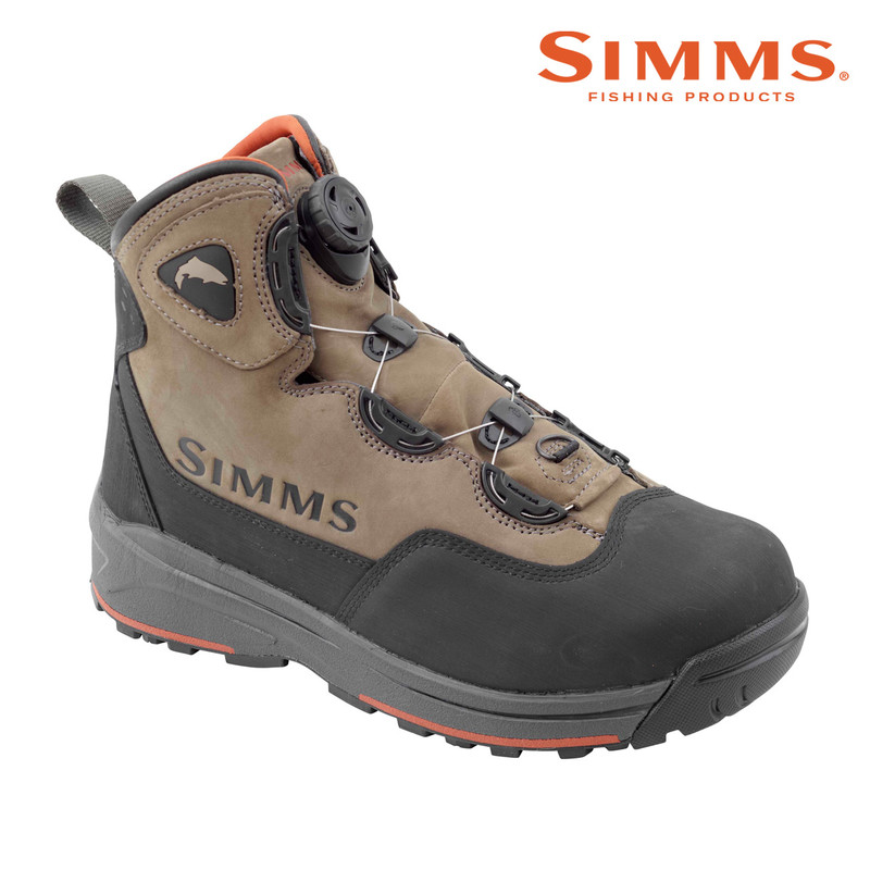Simms Headwaters Boa Wading Boot with Vibram Soles Front and Side View