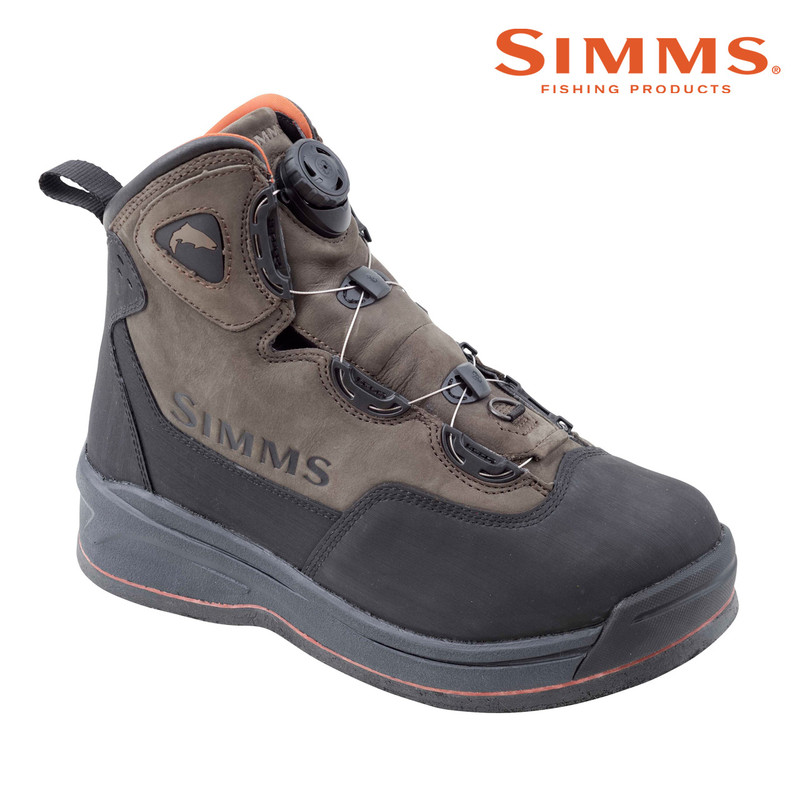 Simms Headwaters Boa Wading Boot Felt Sole Front and Side View