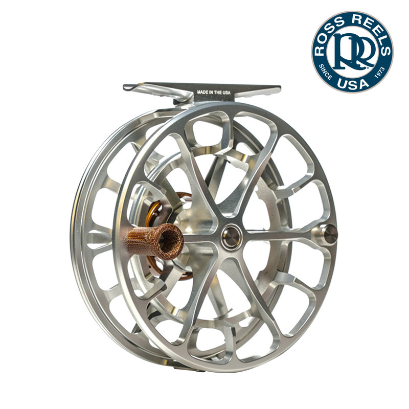 Ross Evolution LTX Fly Fishing Reel in the Color Platinum View of the Handle Side