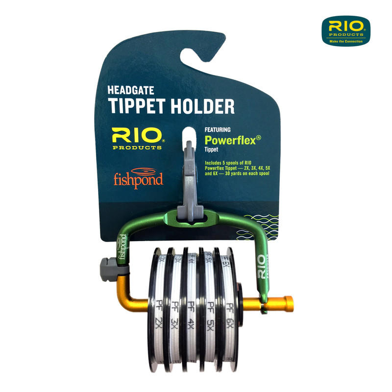 Rio-Fishpond Headgate Tippet Holder with 5 Spools of Rio Powerflex Tippet