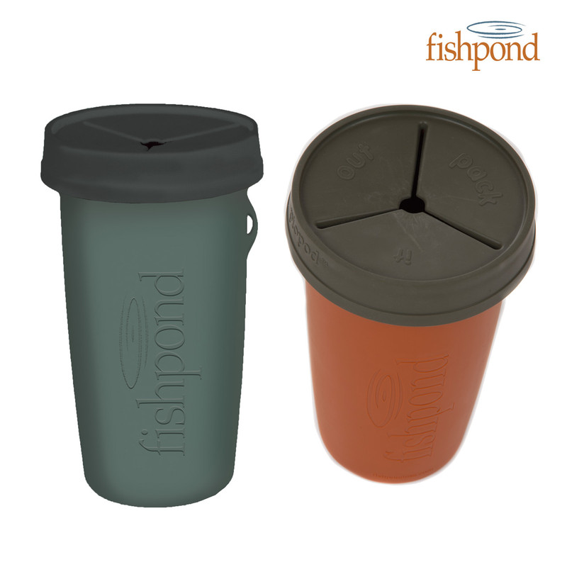 Fishpond Piopod Largemouth Trash Container Side and Top View in Both Colors