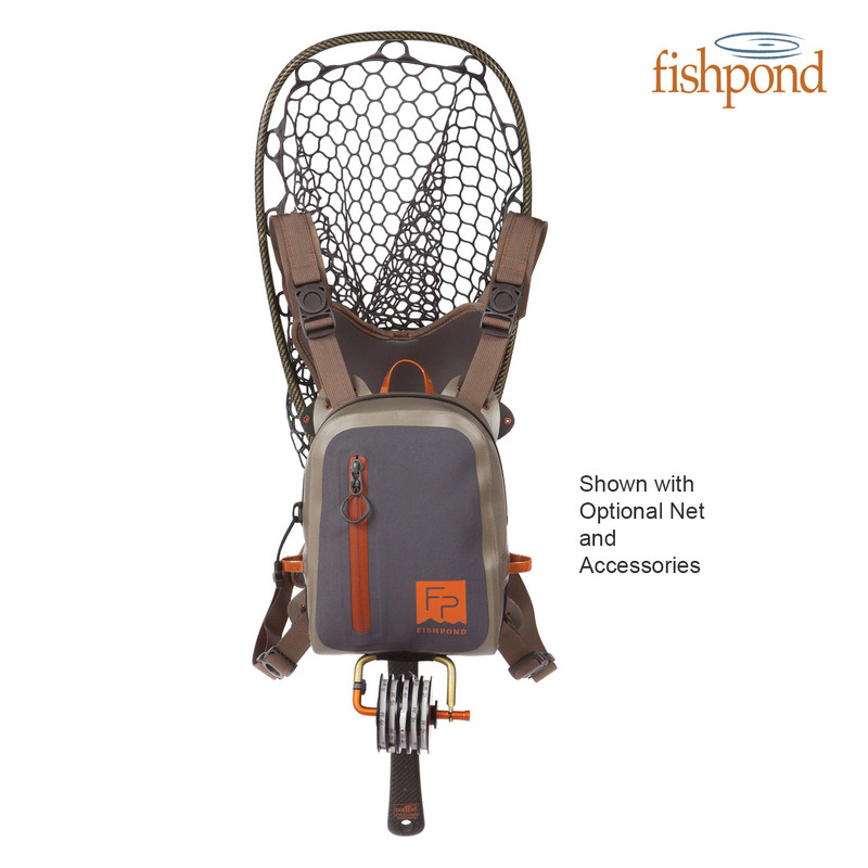 Fishpond Thunderhead Chest Pack Front View with Landing Net and Accessories Attached