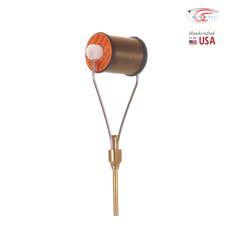 Renzetti HT106 Ruby Tip Fly Tying Bobbin Front and Side View with Thread Spool Loaded