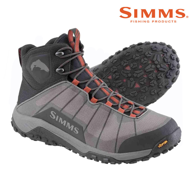 Simms Men's Flyweight Wading Boot with a Vibram Sole Side and Bottom View