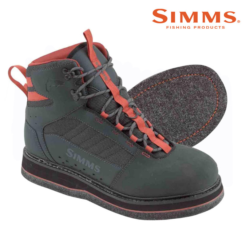 Simms Men's Tributary Wading Boot Felt Sole Side and Bottom Views