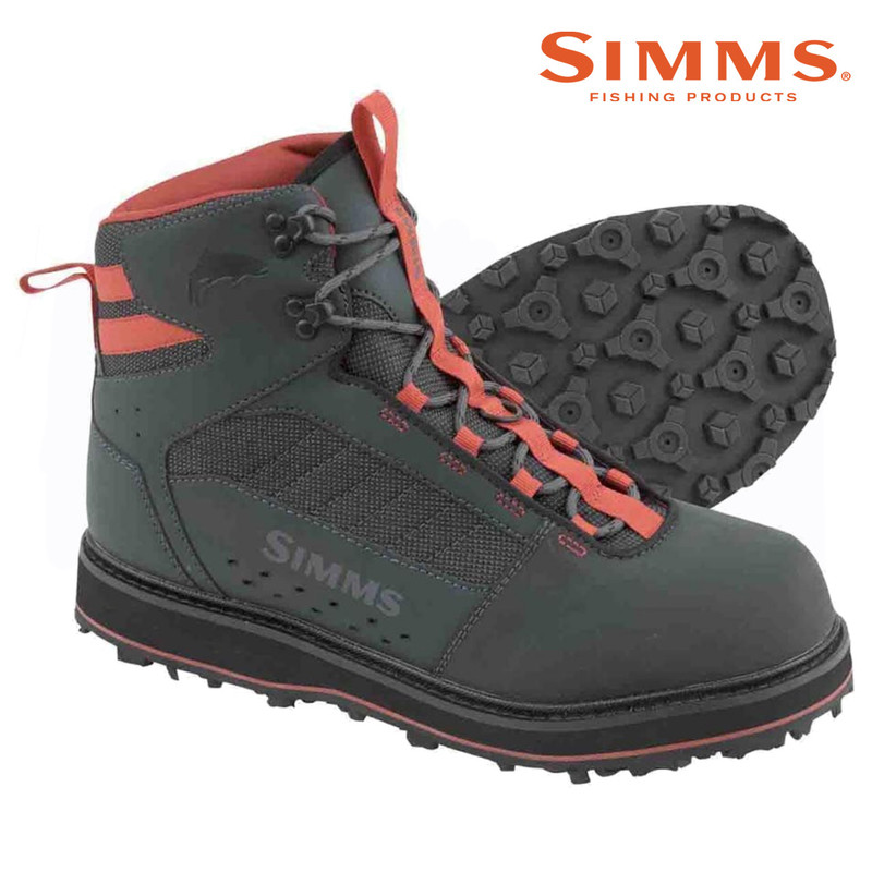 Simms Men's Tributary Wading Boot Rubber Sole Side and Bottom View