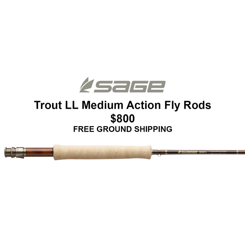 Sage Trout LL Fly Rod short description, photo of handle and Sage logo.