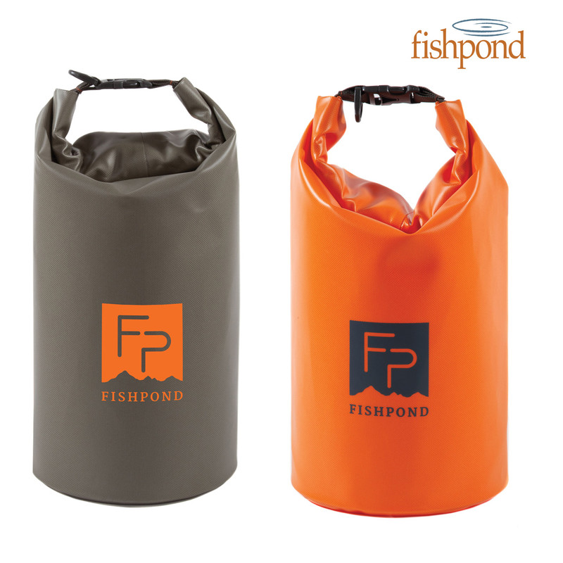 Fishpond Thunderhead Roll-Top Dry Bag shown in Cutthroat Orange and Shale.