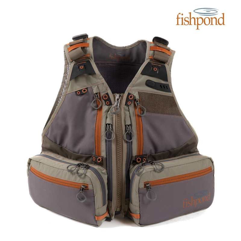 Fishpond Men's Upstream Tech Vest front view and Fishpond logo.