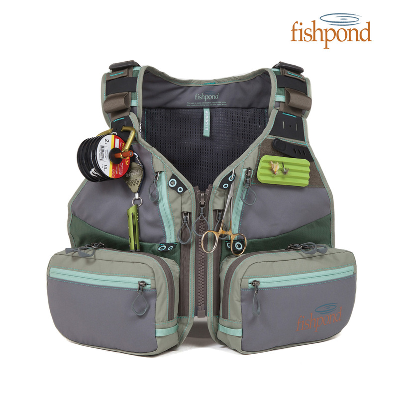 Fishpond Upstream Tech Vest - Women's Fit front view with optional tools attached.