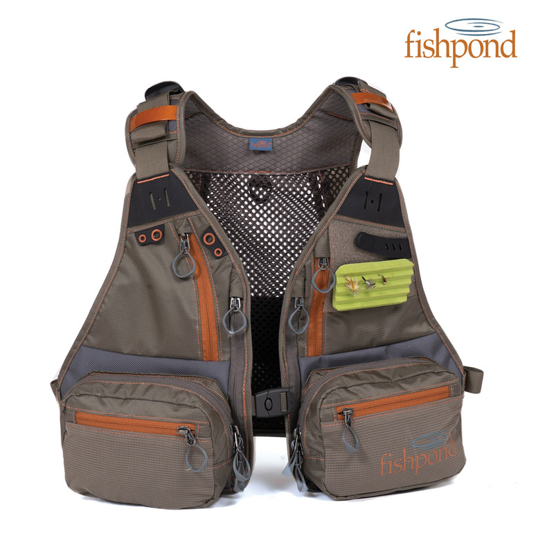 Front view of a Fishpond Tenderfoot Youth Vest and the Fishpond logo.
