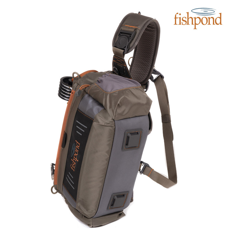 Fishpond Flathead Sling front and side view with Fishpond logo.