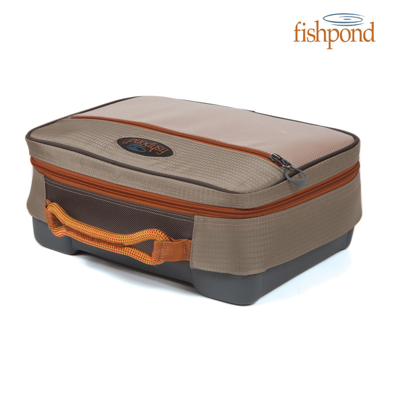 Fishpond Stowaway Reel Case front and top view.