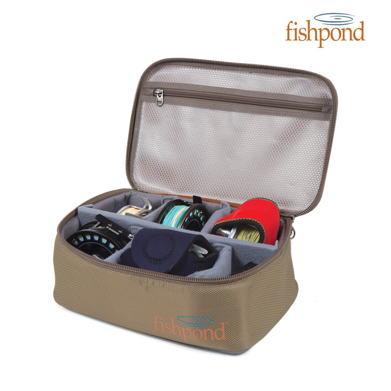 Fishpond Ripple Reel Case, size large and Fishpond logo.