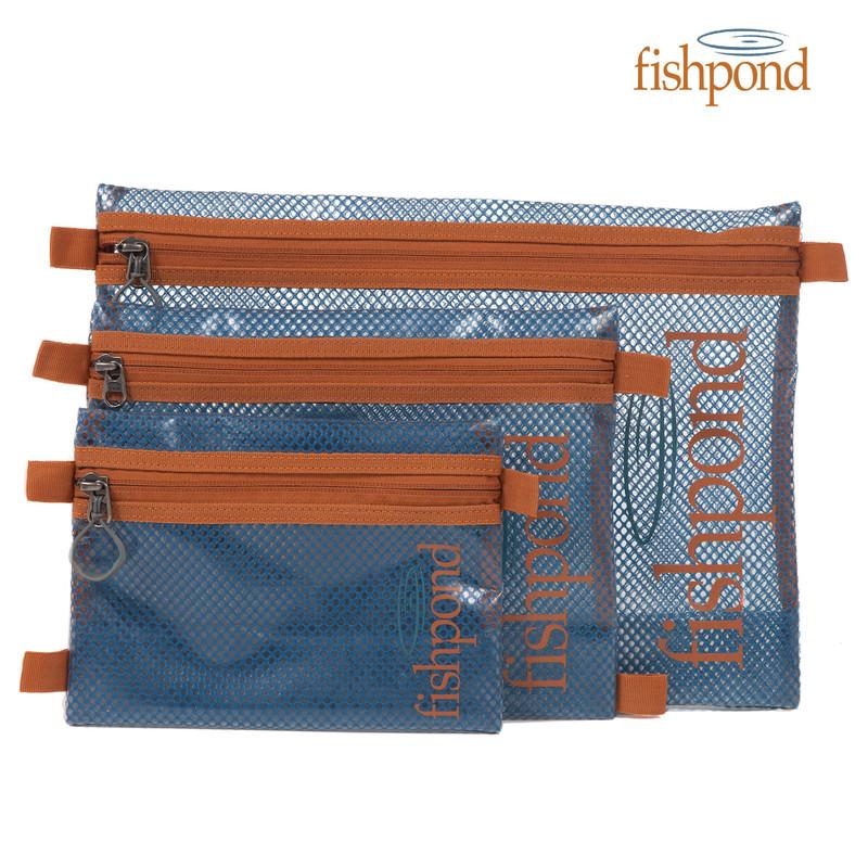 Fishpond Sandbar Travel Pouch shown in all three sizes.