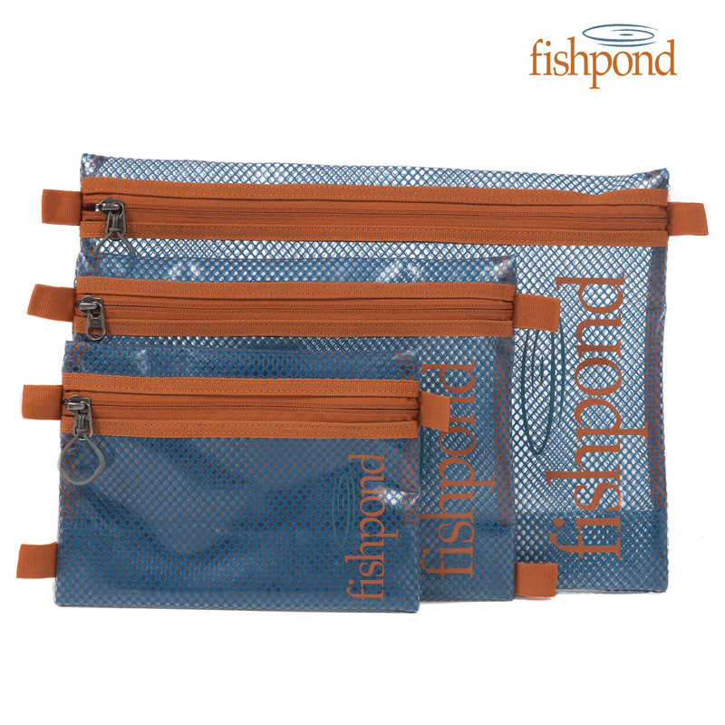 Fishpond Sandbar Travel Pouch shown in all three sizes.