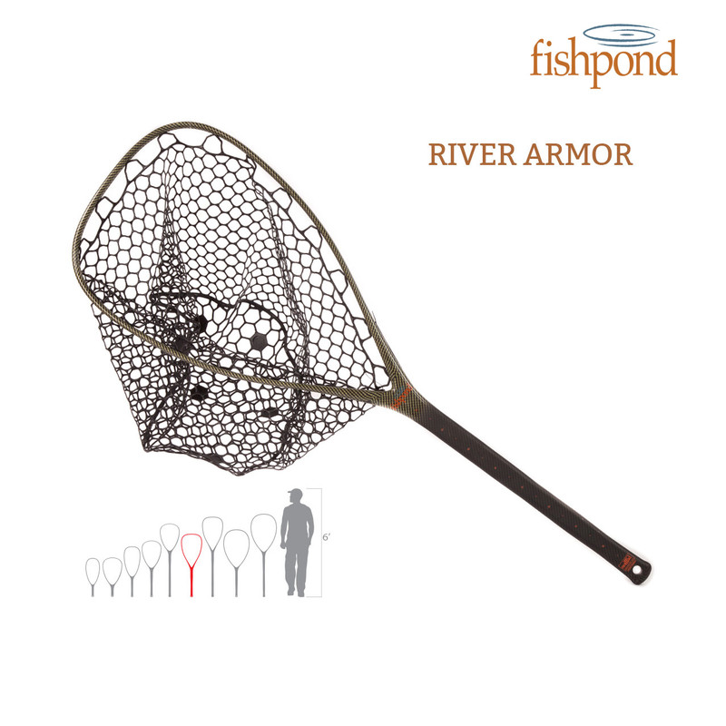 Fishhpond Nomad El Jefe River Armor Landing Net shown with a size illustration comparing this net to other Nomad nets