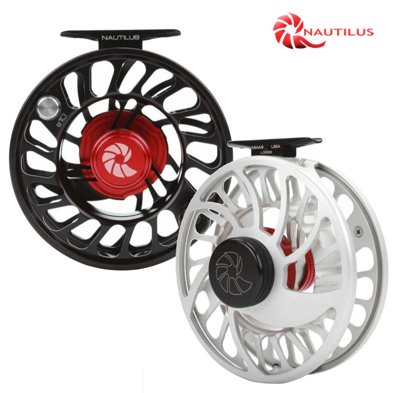 Nautilus CCF-X2 Fly Fishing Reels shown in Silver and Black