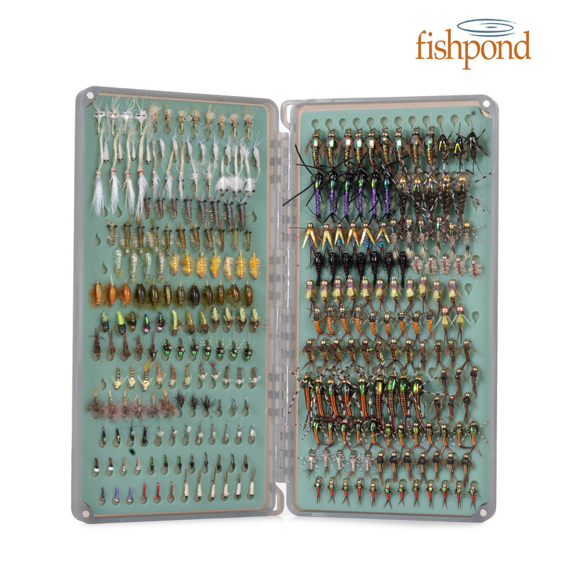 Fishpond Tacky Original Fly Box 2X shown loaded with flies and open.