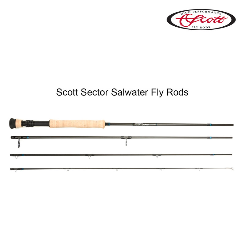 Scott Sector Saltwater Fly Rod view of all four pieces.