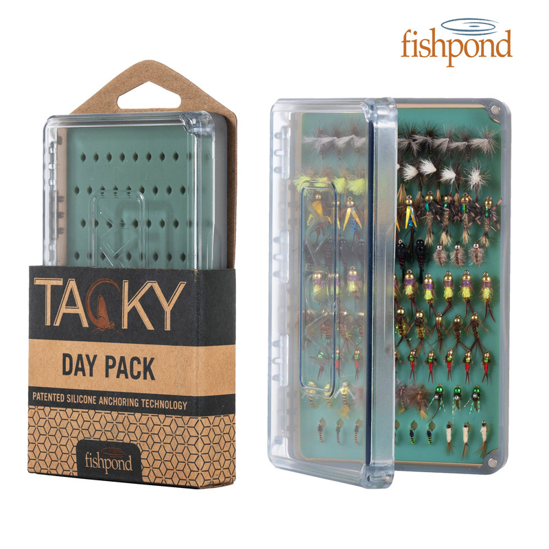 Fishpond Day Pack Fly Box shown in the package with another loaded with flies.