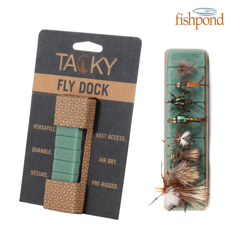 Fishpond Tacky Fly Dock shown packaged and alone and loaded with flies.