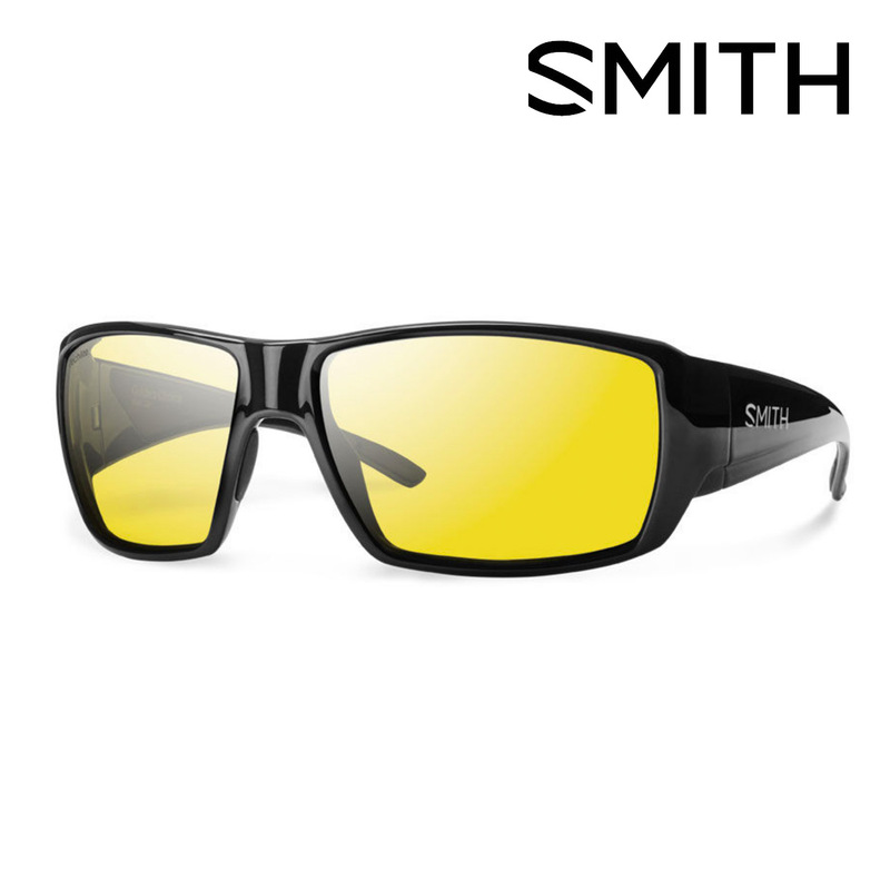 Smith Guides Choice Black Frame Techlite Low Light Ignitor Polarized Sunglasses front and side view.