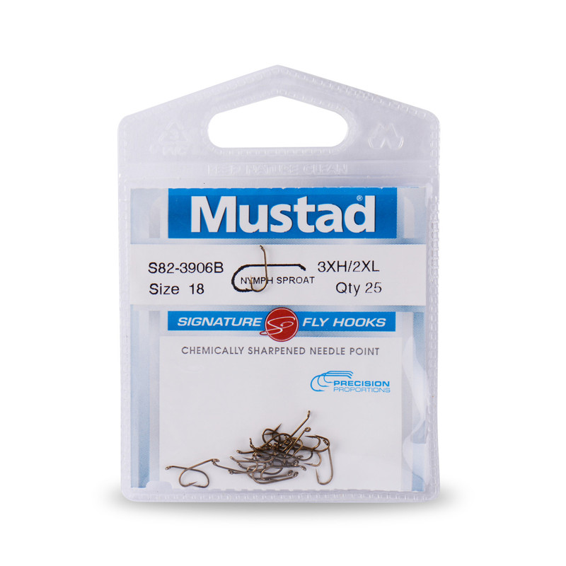 25-Pack of Mustad Signature Series S82-3906B Heavy Long Nymph Hooks