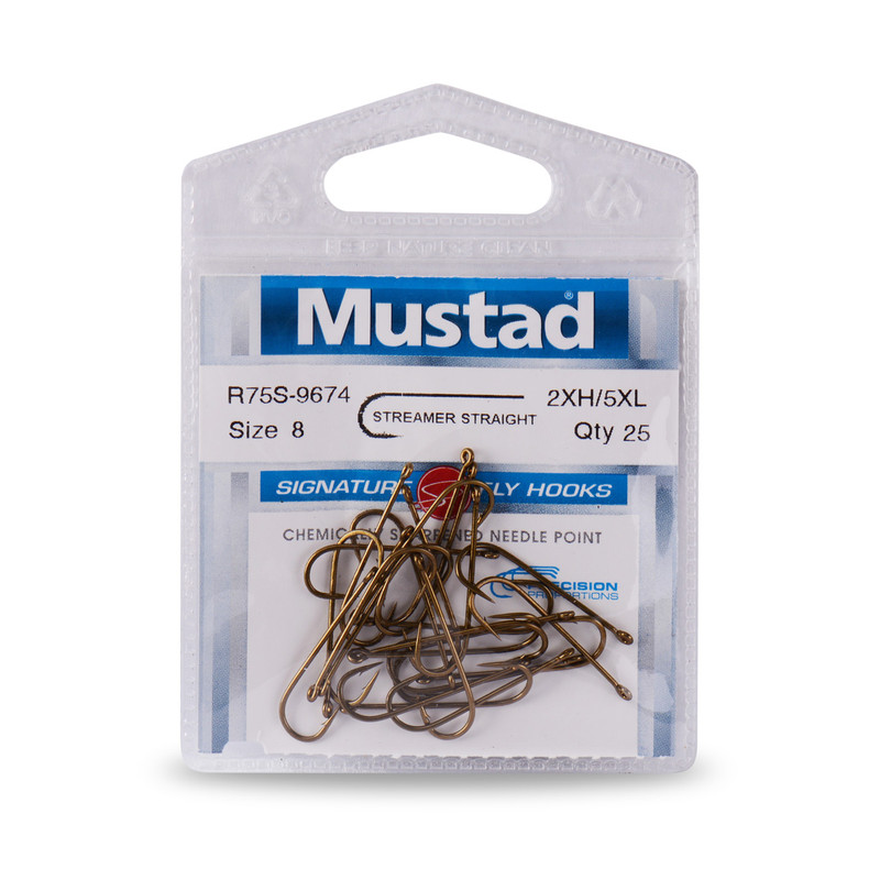 25-Pack of Mustad Signature Series R75S-9674 5XL Streamer Hooks