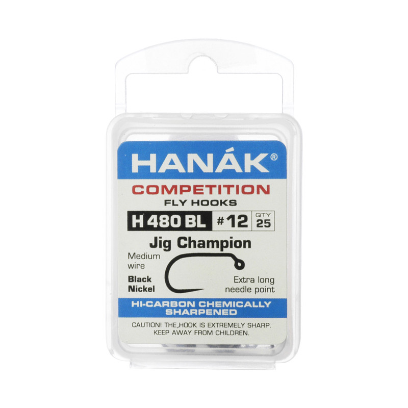 A 25-Pack of Hanak H480BL Barbless Jig Champion Hooks