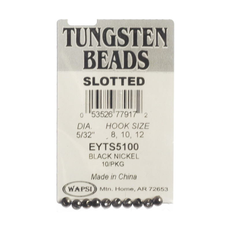 10-Pack of Wapsi Slotted Tungsten Black Beads