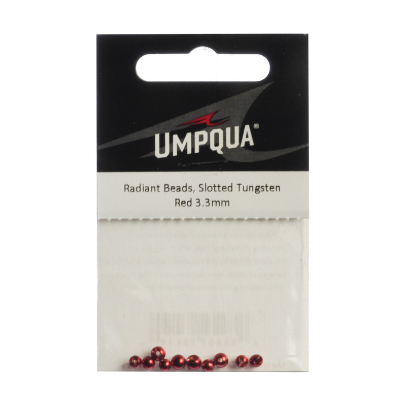 10-Pack of Umpqua Radiant Tungsten Slotted Red Beads