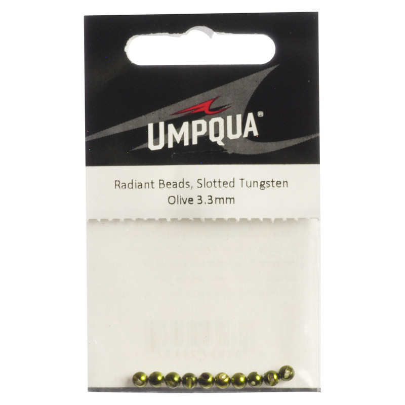 10-Pack of Umpqua Radiant Tungsten Slotted Olive Beads