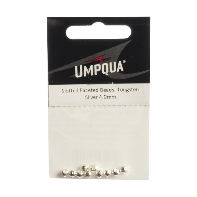10-Pack of Umpqua Tungsten Faceted Slotted Silver Beads
