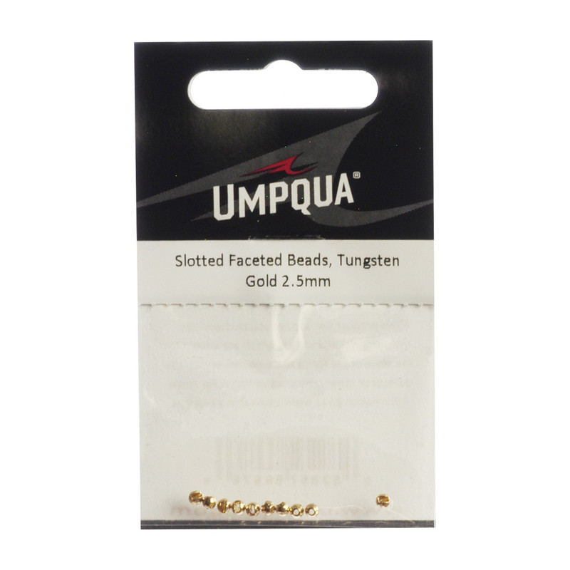 10-Pack of Umpqua Tungsten Faceted Slotted Gold Beads
