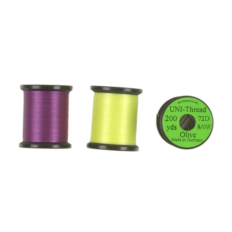 Three Spools of Uni-Thread 8/0 72 Denier Fly Tying Waxed Thread