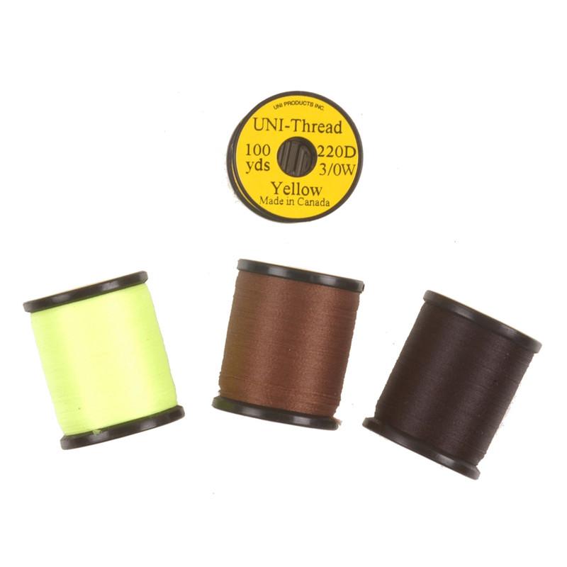 4 Spools of Uni-Thread 3/0 220 Denier Fly Tying Waxed Thread