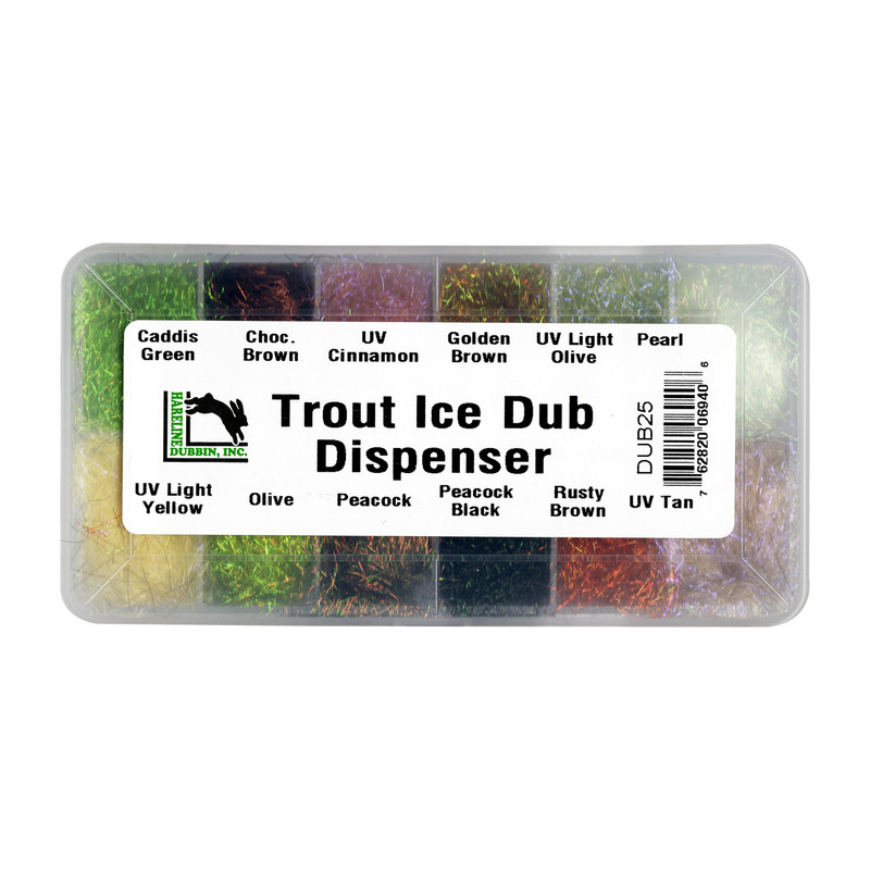 Top View of a Hareline Trout Ice Dub Dubbing Dispenser of 12 Colors