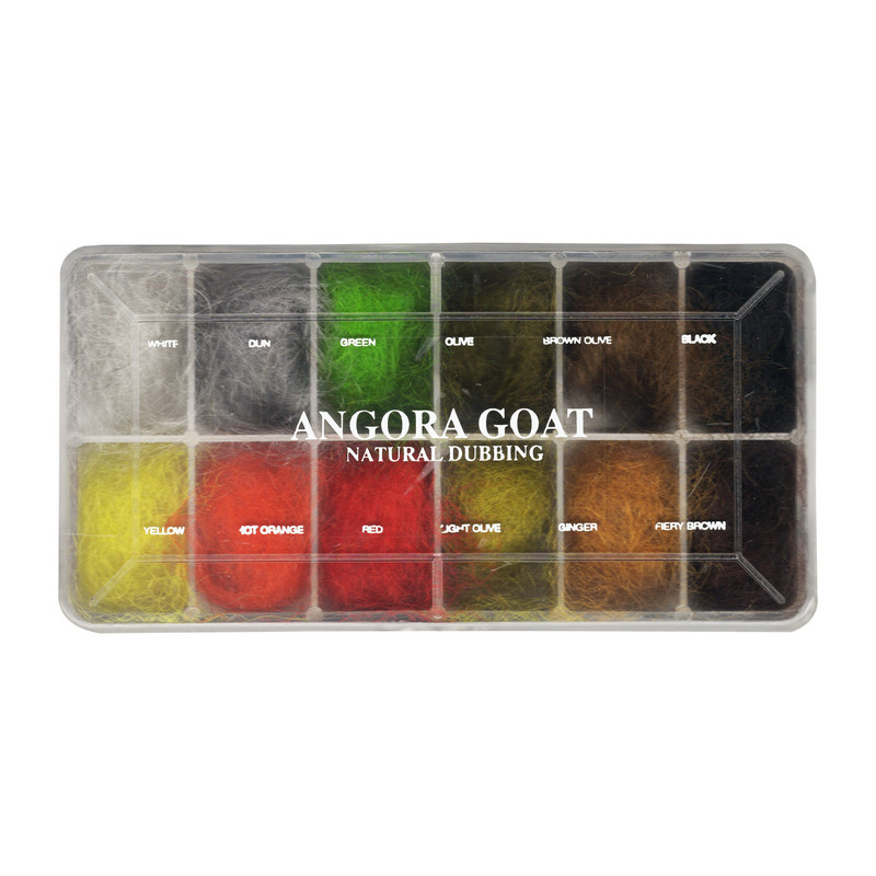 Top View of a Wapsi Angora Goat Dubbing Selection in 12 Colors