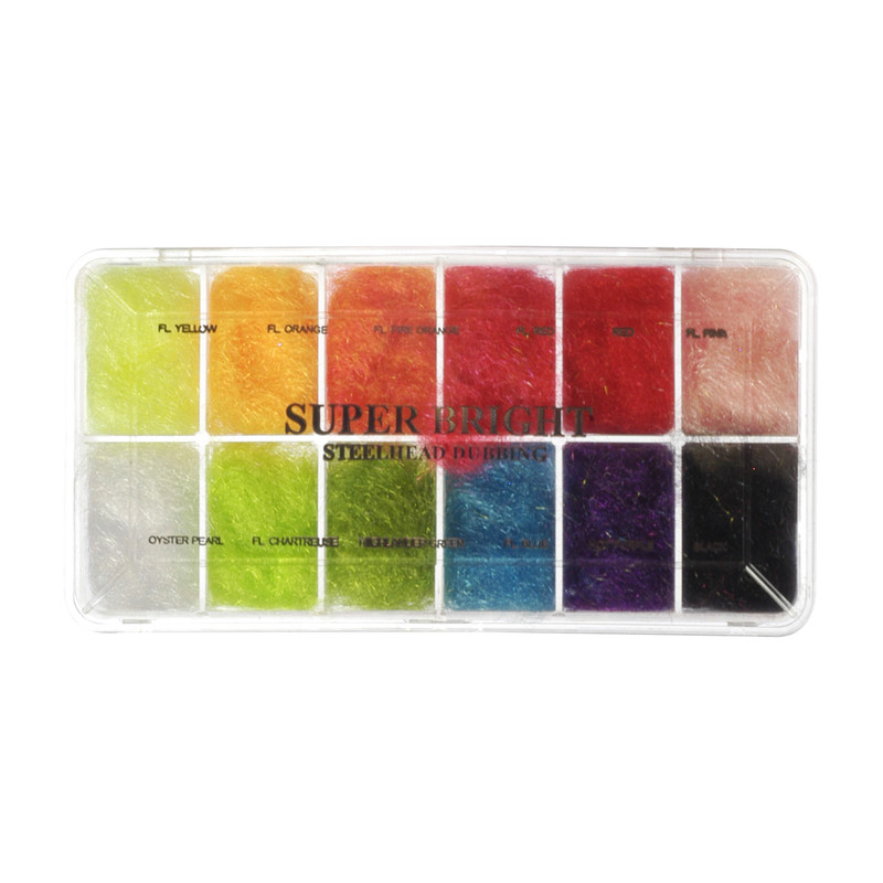 Top View of a Wapsi Super Bright Steelhead Dubbing Selection in 12 Colors