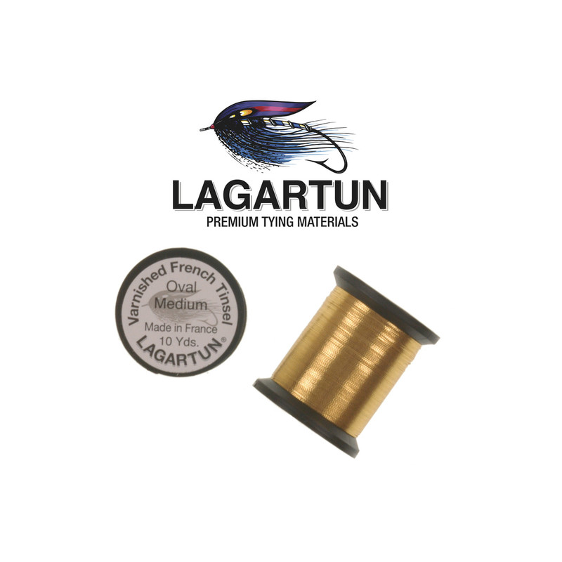 Two Spools of Lagartun Gold Oval Tinsel and the Lagartun Logo